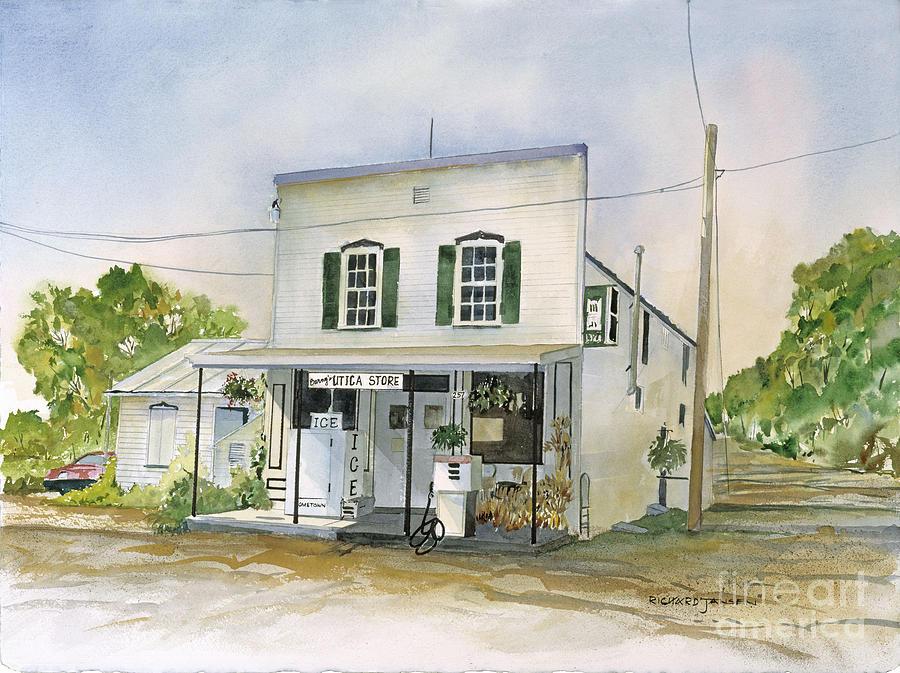 Watercolor Painting - Utica Store by Richard Jansen