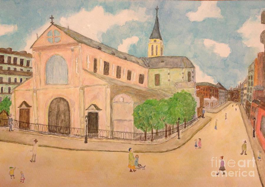 Utrillo Painting - Utrillo And Church Seasonal Change In Paris By Japanese Artist by Sawako Utsumi
