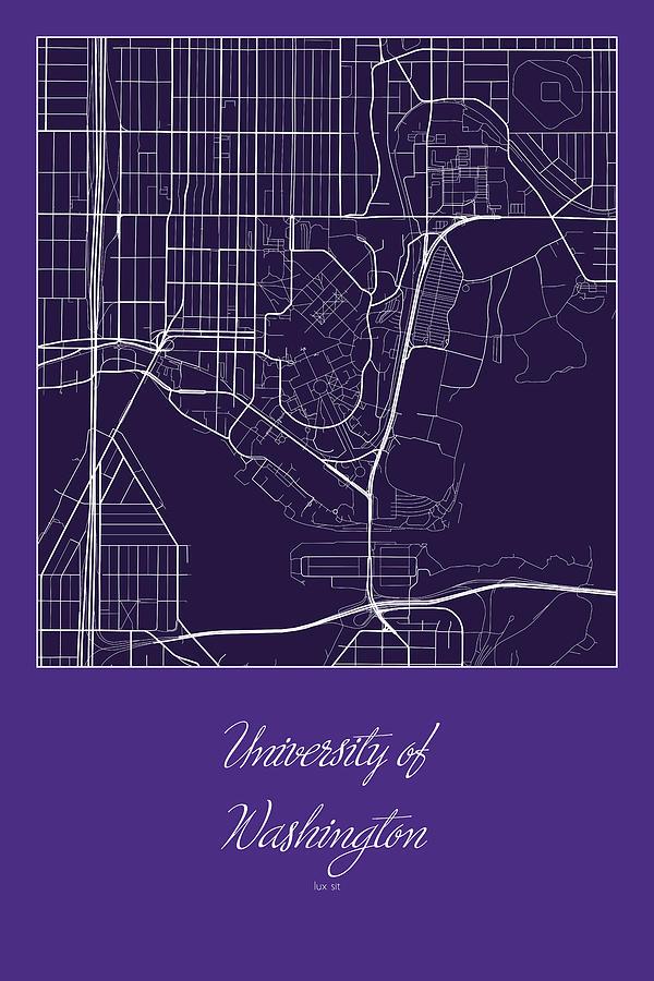 Uw Street Map University Of Washington Seattle Map Digital Art By