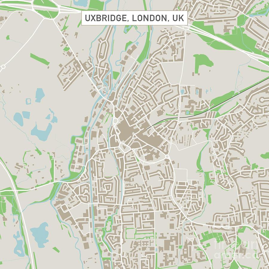 Street Map Of London Uk.Uxbridge London Uk City Street Map By Frank Ramspott