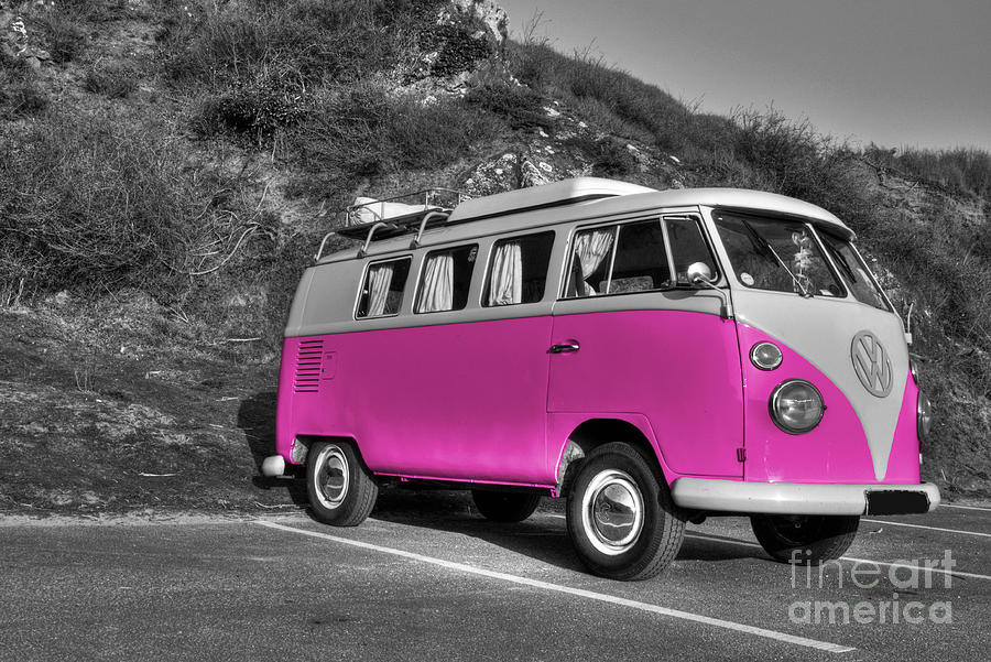 Split Photograph - V-dub In Pink  by Rob Hawkins