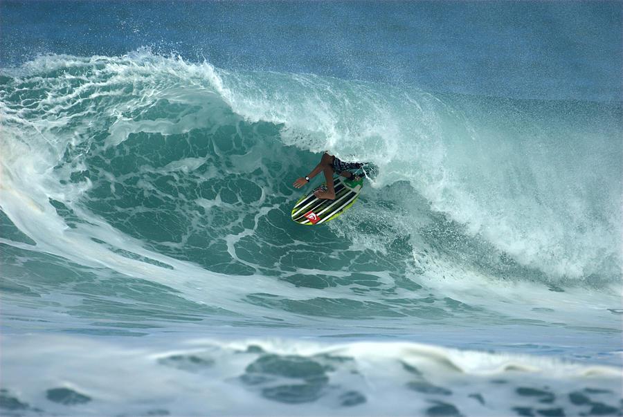 Surf Photograph - V Land Tube Action by Brad Scott