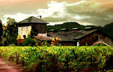 Vineyard Painting - V Sattui Winery Napa by Paul Bailey