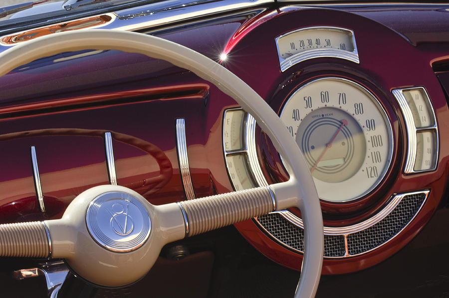 Steering Wheel Photograph - V8 Hot Rod Dash by Jill Reger