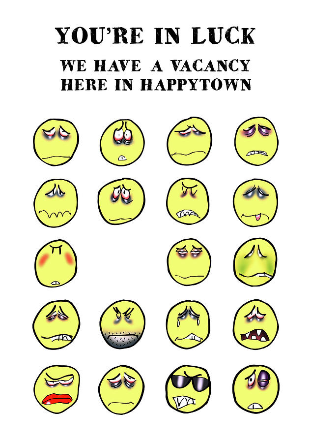 Smiley Digital Art - Vacancy In Happytown by Mark Armstrong