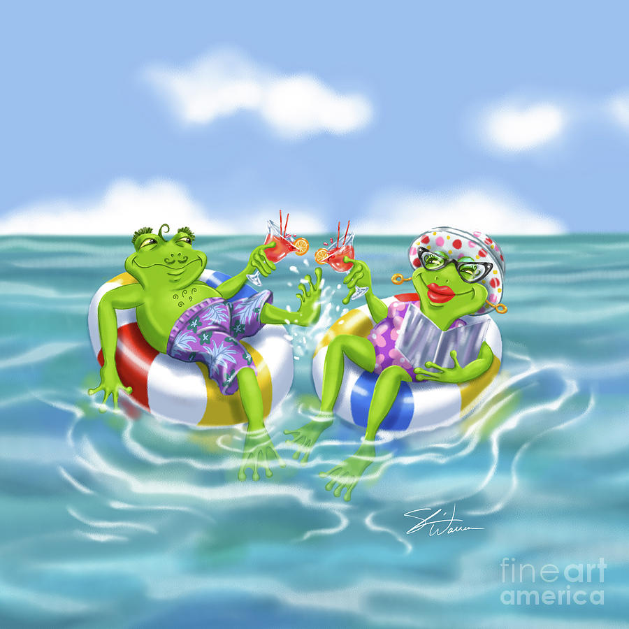 Vacation Happy Frog Couple by Shari Warren