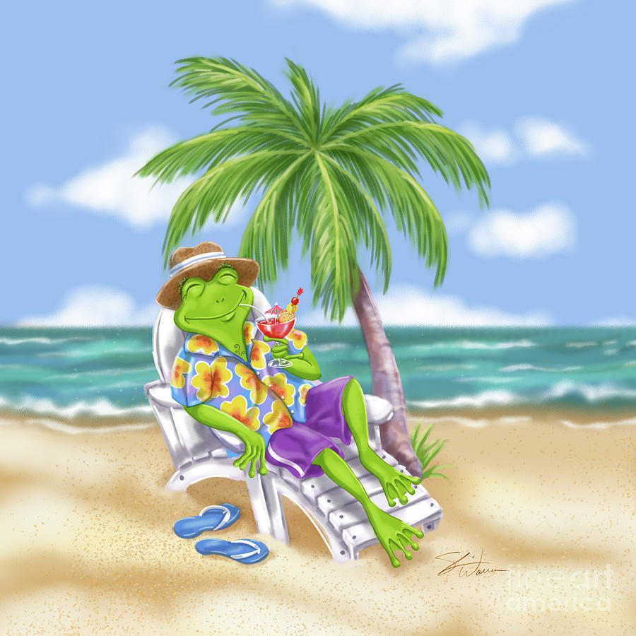 Vacation Relaxing Frog by Shari Warren