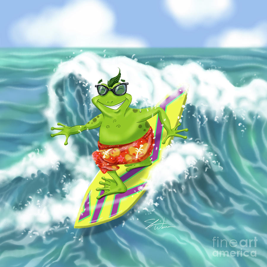 Vacation Surfing Frog by Shari Warren