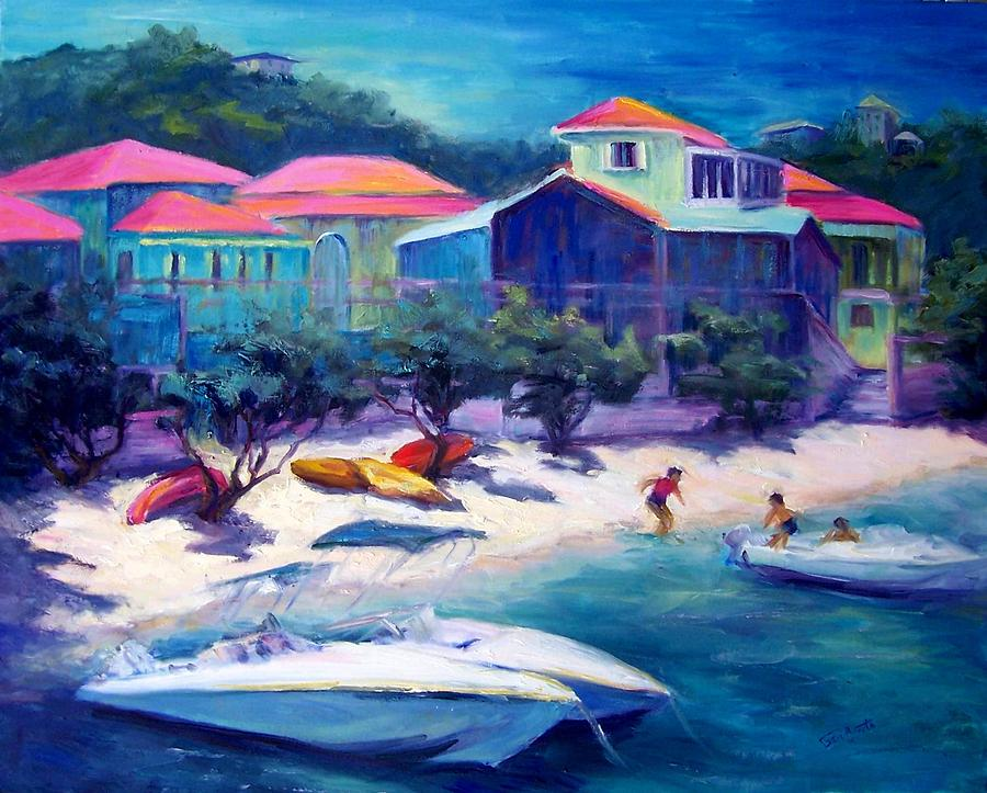 Vacationing At St. John  Painting by Geri Acosta