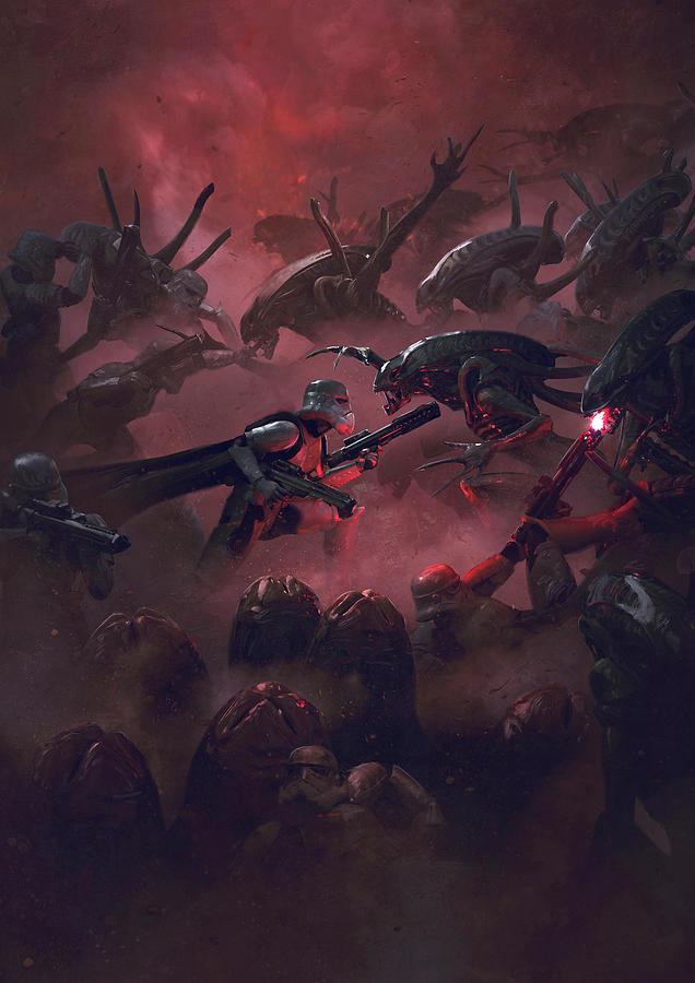 Star Wars Digital Art - Vader Vs Aliens 1 by Exar Kun