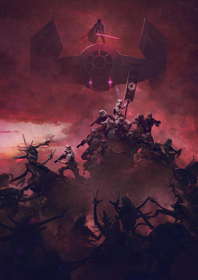 Star Wars Digital Art - Vader Vs Aliens 2 by Exar Kun