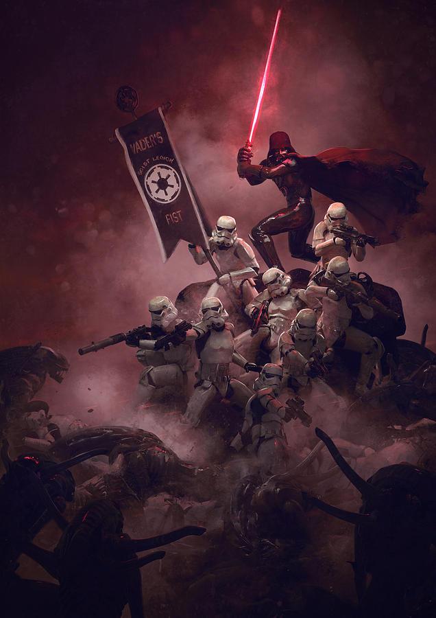 Star Wars Digital Art - Vader Vs Aliens 3 by Exar Kun
