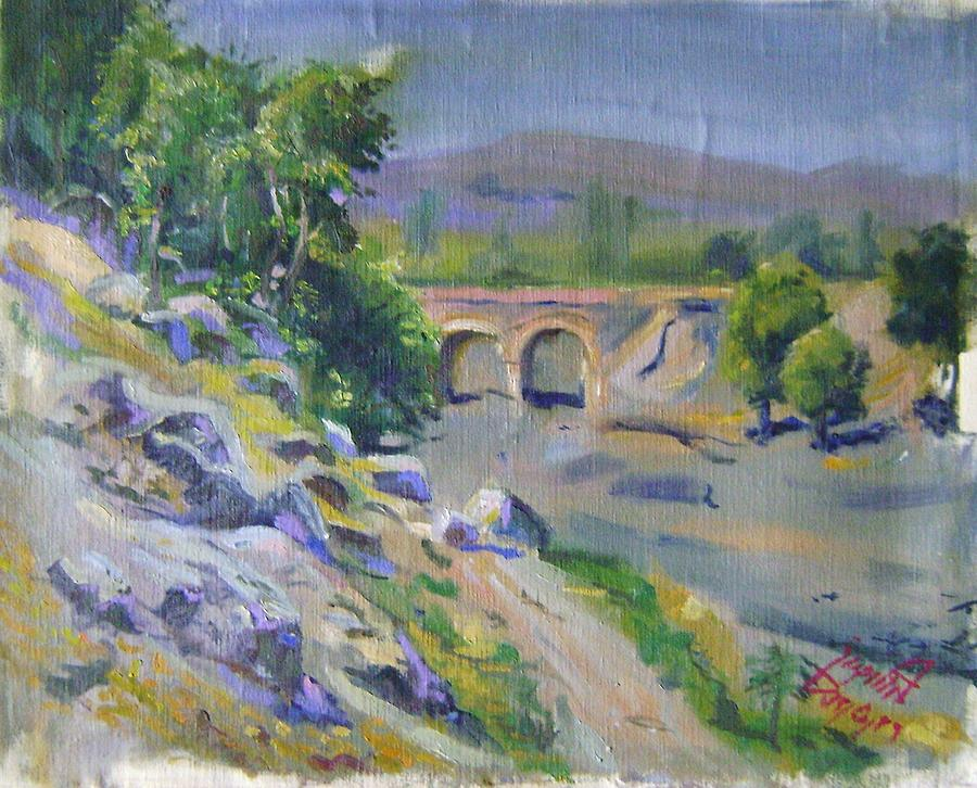 Landscape Painting - vakil Abad bridge in Mashhad by Mehrdad Sedghi