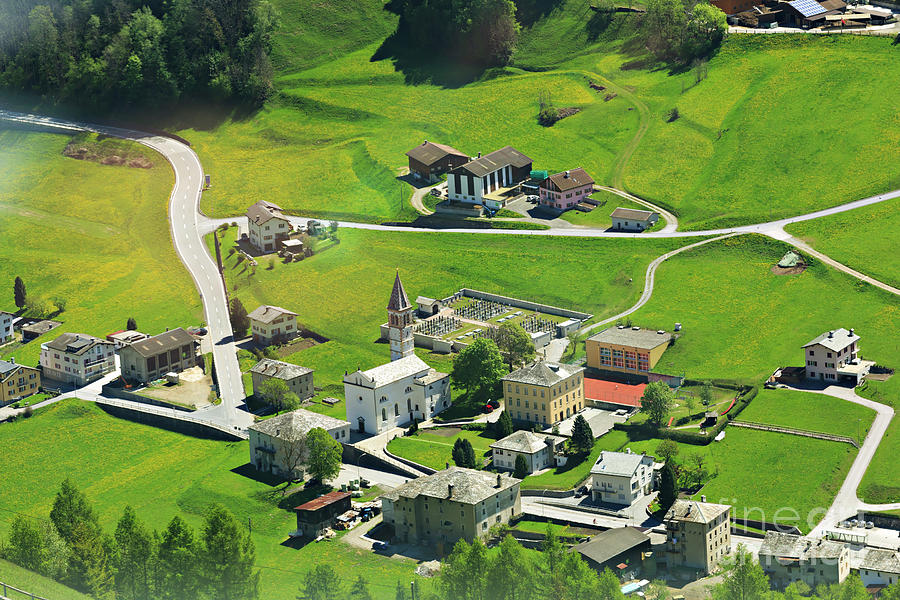 Town Photograph - Val Poschiavo From The Bernina Express Switzerland by Louise Heusinkveld