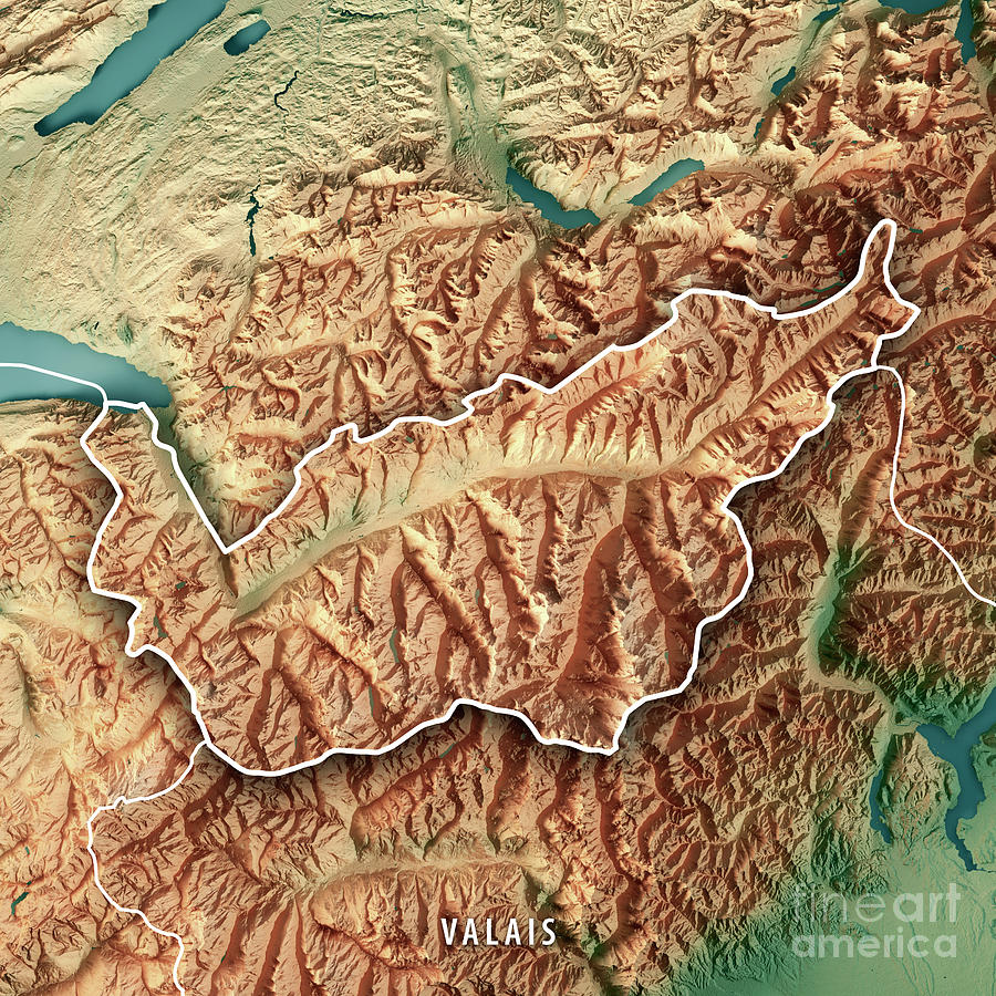 Valais Canton Switzerland 3d Render Topographic Map Border Digital