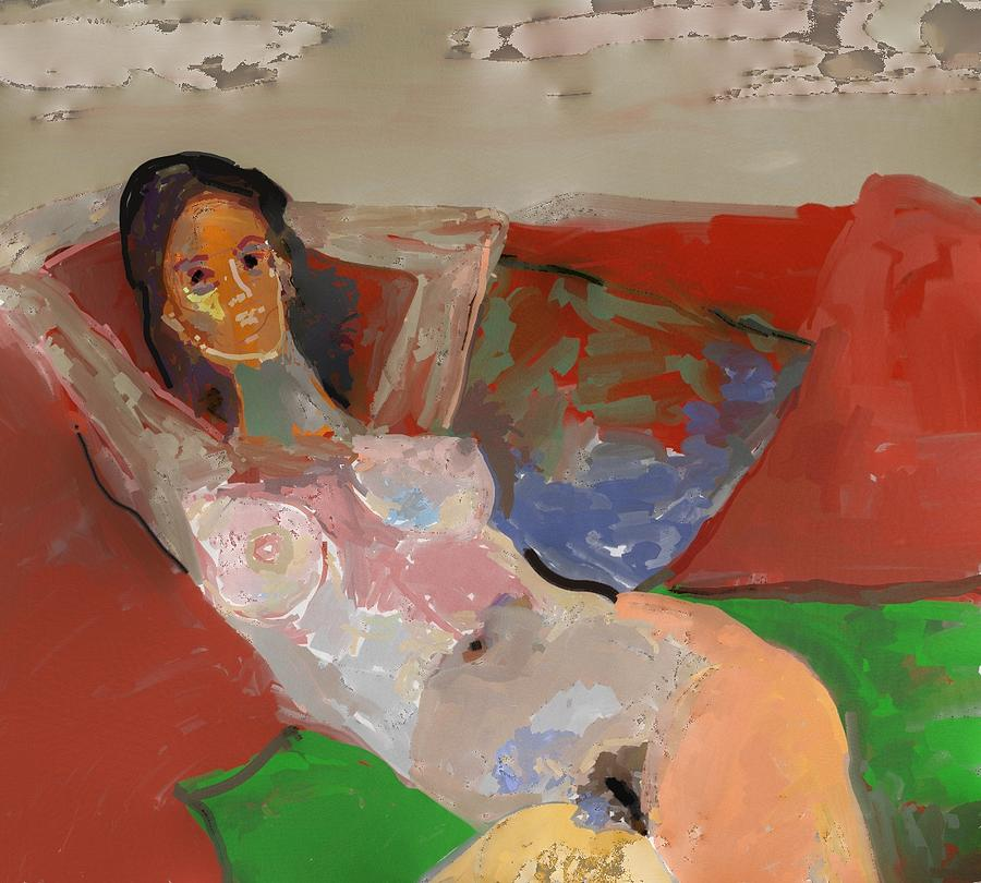 Paint Painting - Valentina Model Nude In Relax by Carlos Camus