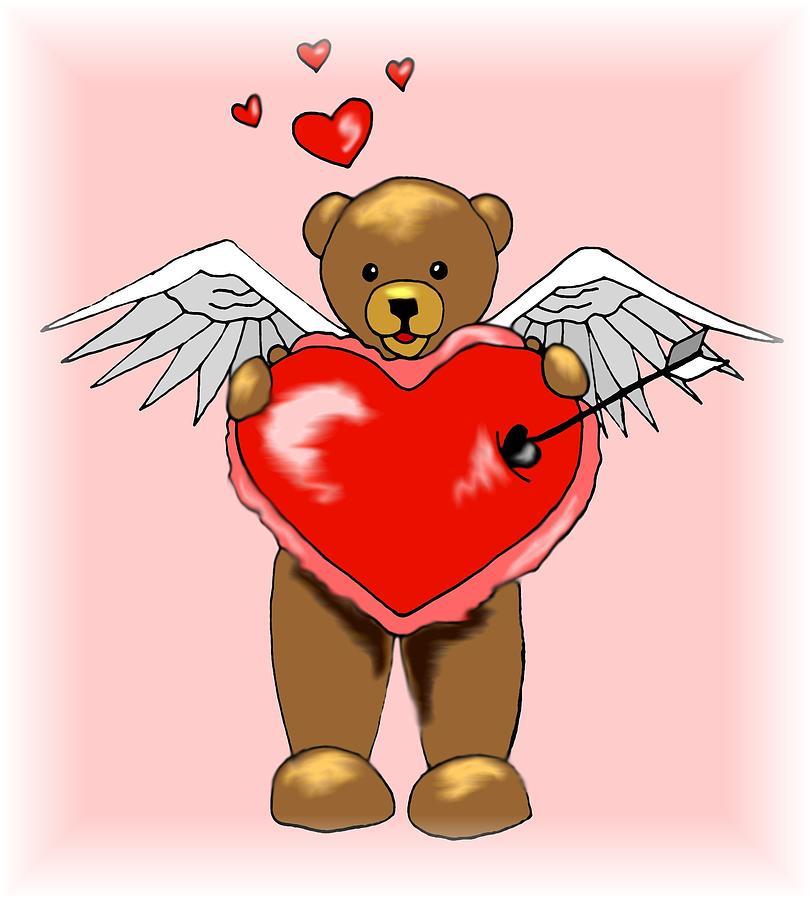 Bear Digital Art - Valentine Bear by Scarlett Royal