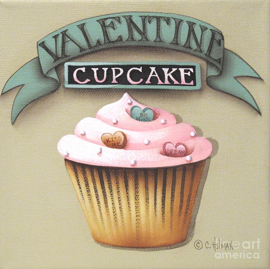 Print Painting - Valentine Cupcake Small by Catherine Holman