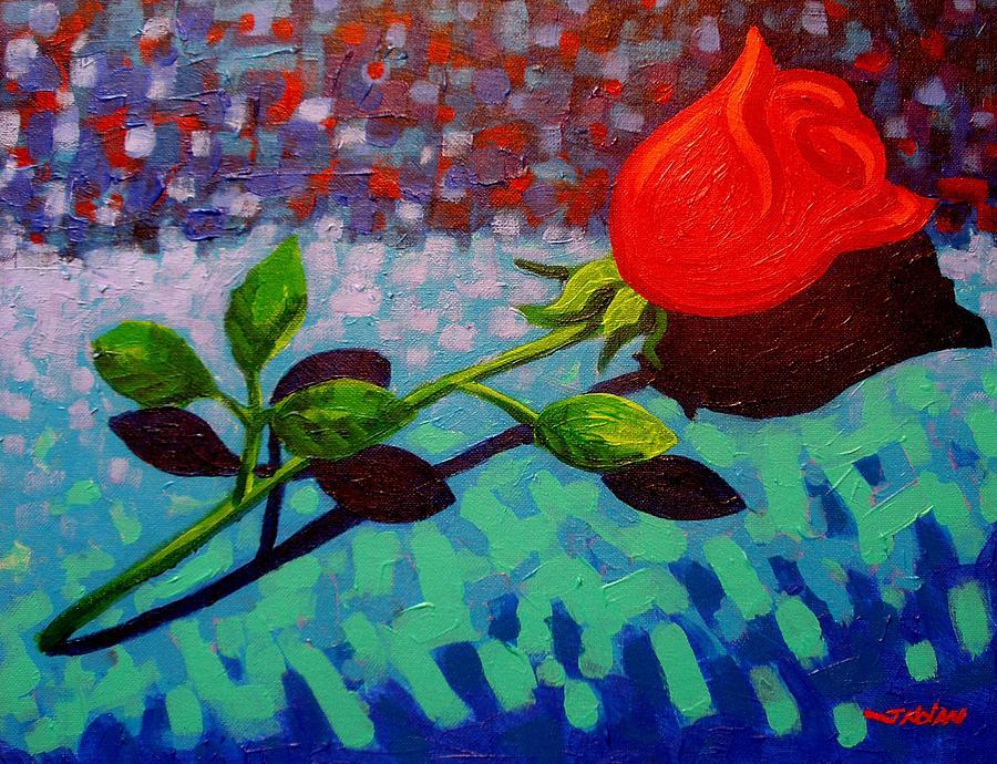 Acrylic Painting - Valentine Rose by John  Nolan
