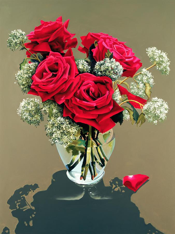 Flower Painting - Valentine Roses by Ora Sorensen