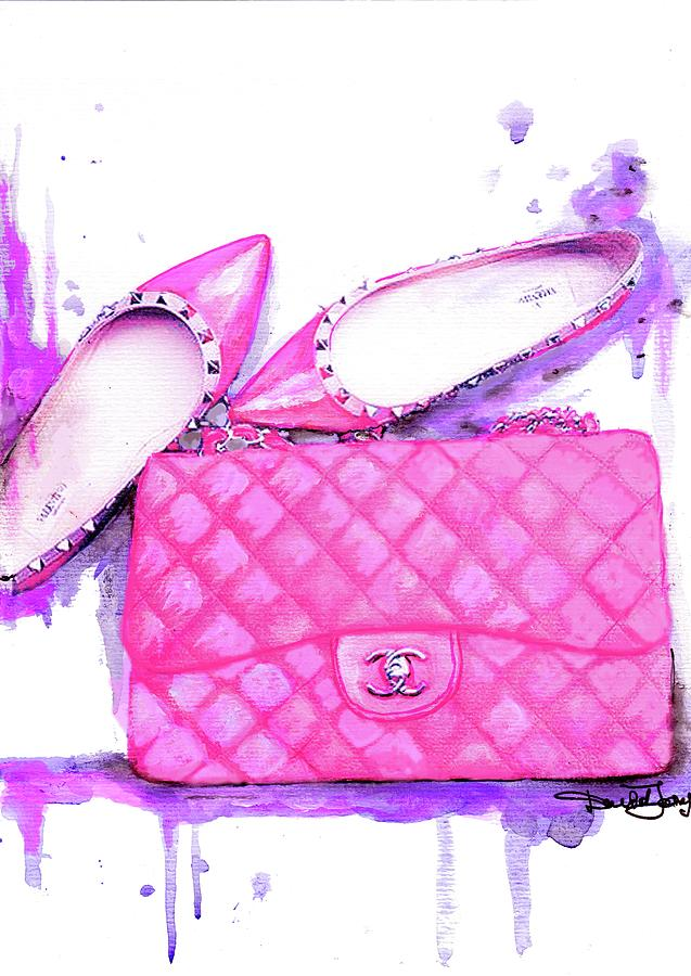 444068e8a812 Chanel Poster Painting - Valentino Shoes And Chanel Bag Pink by Del Art