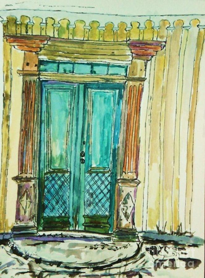 Door Painting - Valkommen by Helena Bebirian