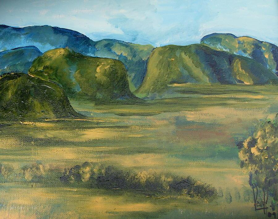Cuban Landscape Painting - Valle de Vinales by Carol P Kingsley