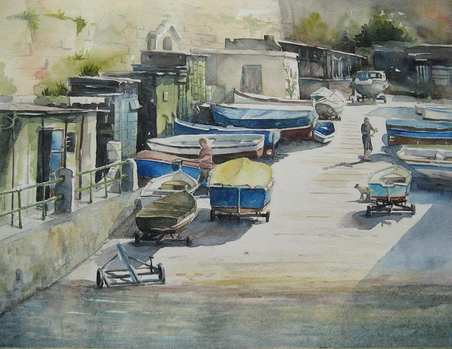 Valletta Painting - Valletta Boat Houses by Diane Agius
