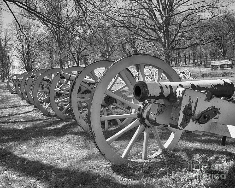 Canon Photograph - Valley Forge Battery Blackened White by Tom Gari Gallery-Three-Photography