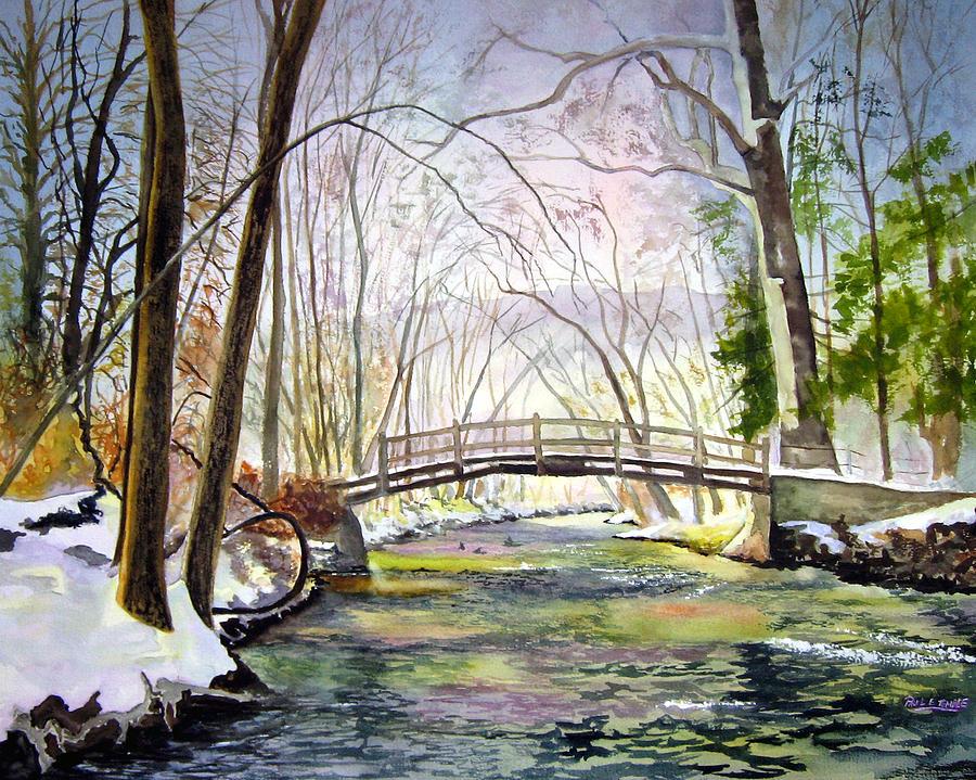 Landscape Painting - Valley Forge Footbridge by Paul Temple