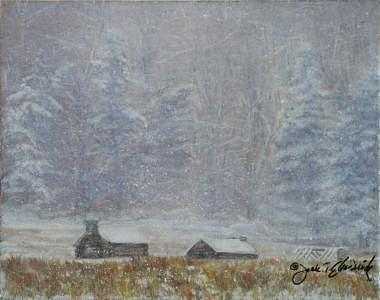 Valley Forge-pennsylvania Snow Storm Painting by Jeanie Chadwick