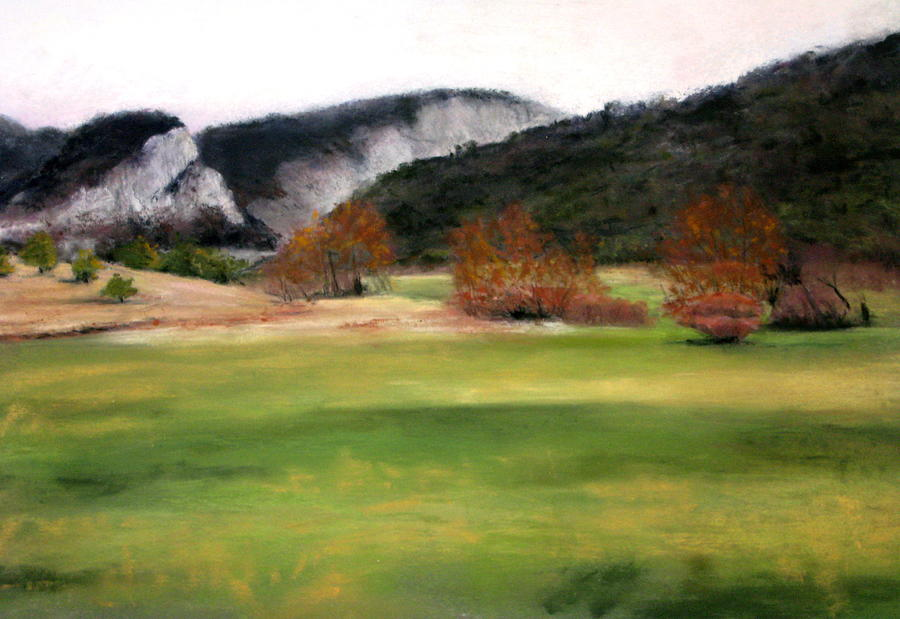 Mountains Painting - Valley Landscape Early Fall by Cindy Plutnicki