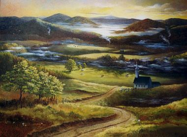 Landscape Painting - Valley Of My Dreams by Pat Aube Gray