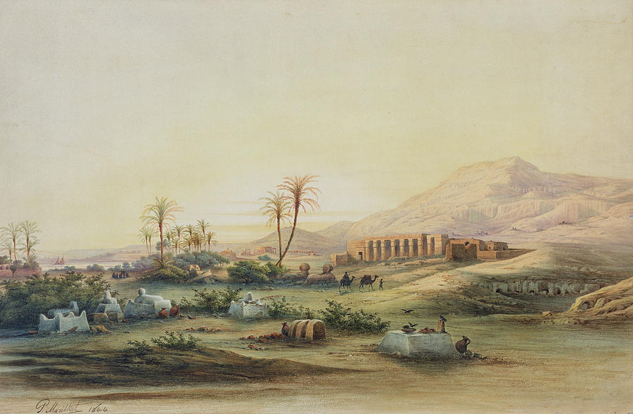 Valley Painting - Valley Of The Nile With The Ruins Of The Temple Of Seti I by Prosper Georges Antoine Marilhat