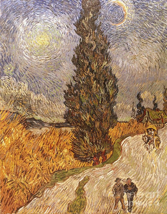 1889 Photograph - Van Gogh: Cypresses, 1889 by Granger