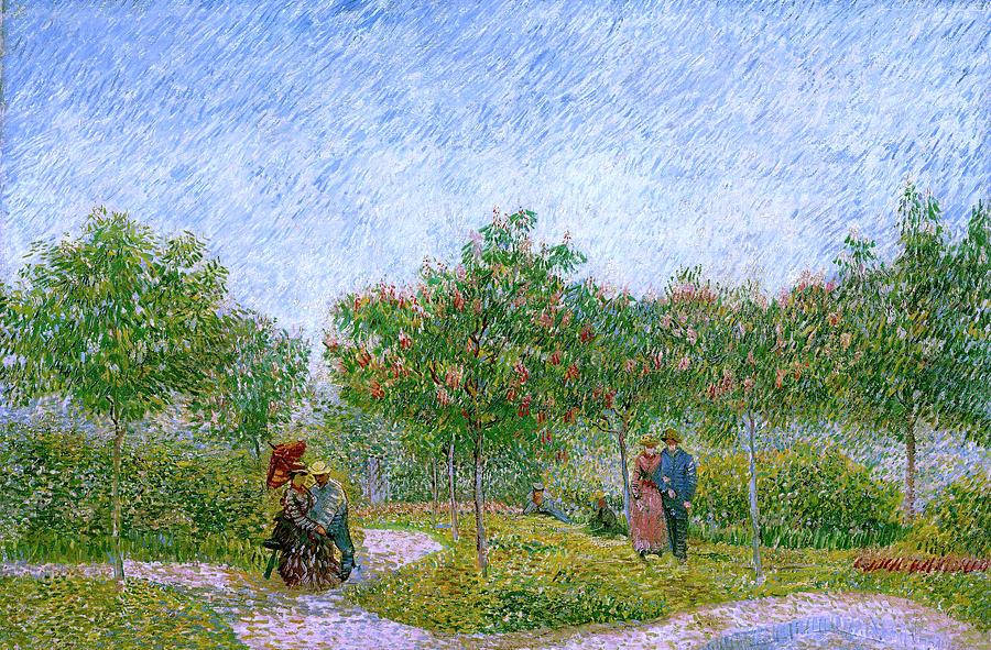 Van Gogh Painting - Van Gogh Garden in Montmartre with Lovers by Vincent Van Gogh