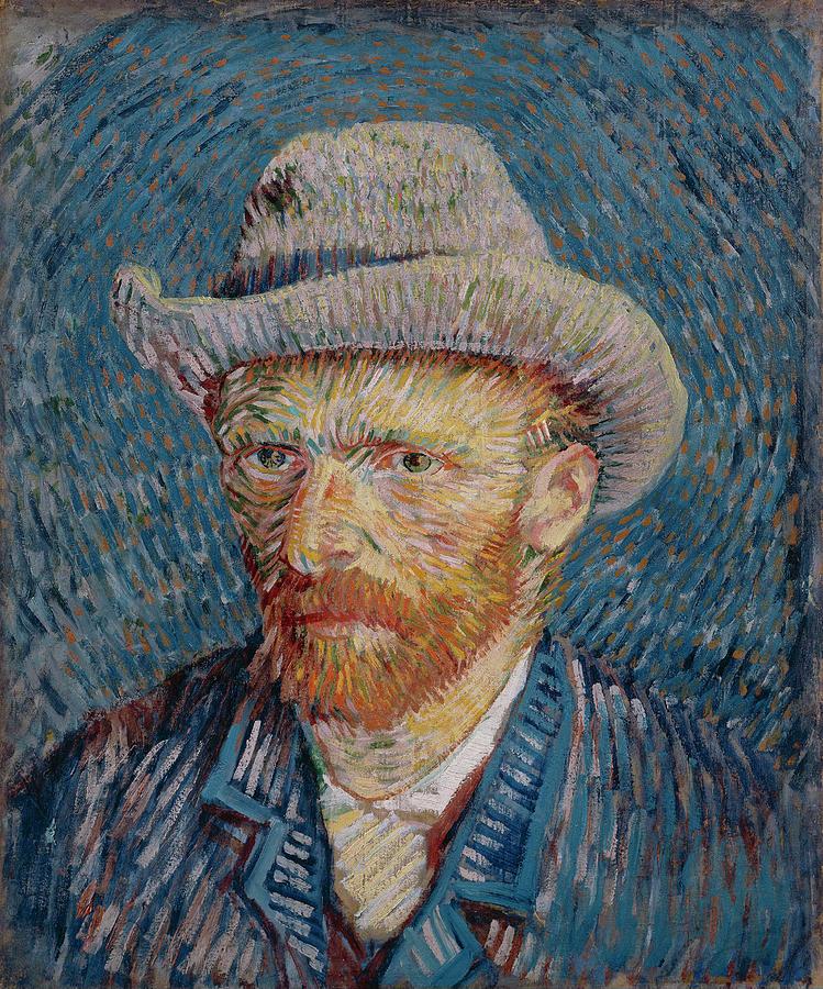 Van Gogh Painting - Van Gogh Self Portrait Grey Felt Hat by Vincent Van Gogh