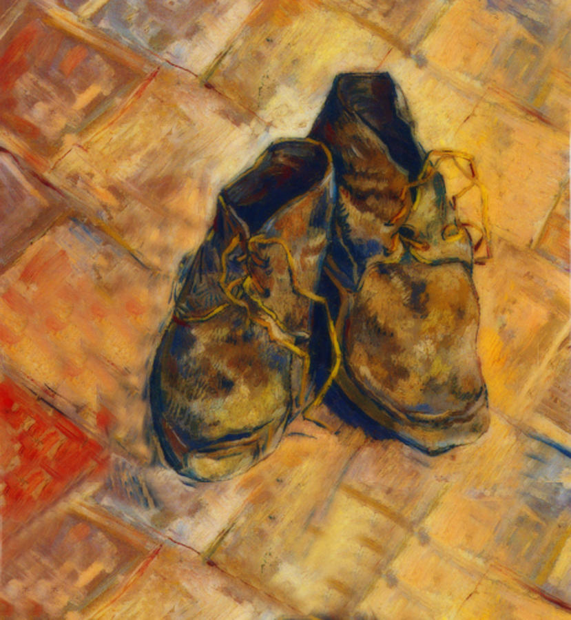 Van Gogh Style Shoes Photograph by