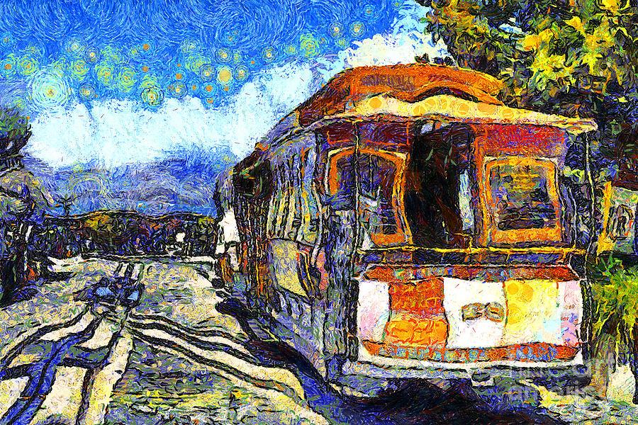 San Francisco Photograph - Van Gogh Vacations In San Francisco 7d14099 by Wingsdomain Art and Photography