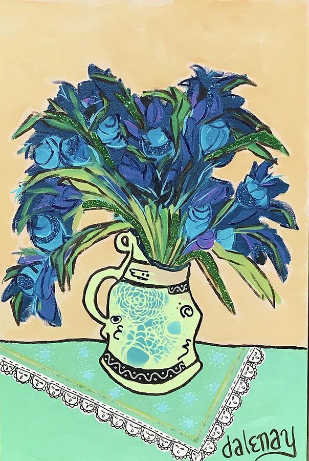 Van Gogh Vase Of Blue Flowers Remix Mixed Media By Dalene Woodward