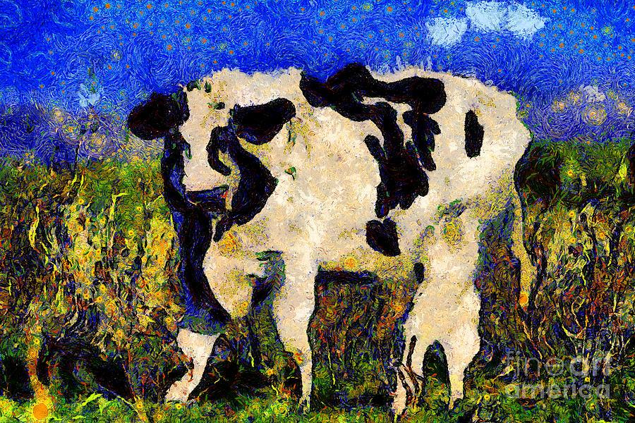 Vangogh Photograph - Van Gogh.s Big Bull . 7d12437 by Wingsdomain Art and Photography