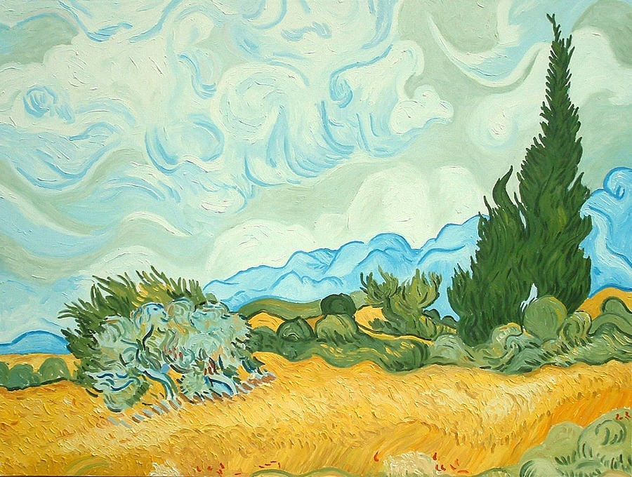Vincent Painting - Van Goghs Cypress And Wheatfield by Frank Wuts