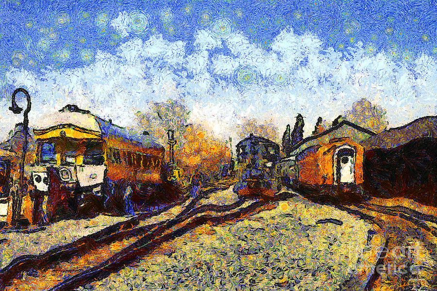 Transportation Photograph - Van Gogh.s Train Station 7d11513 by Wingsdomain Art and Photography