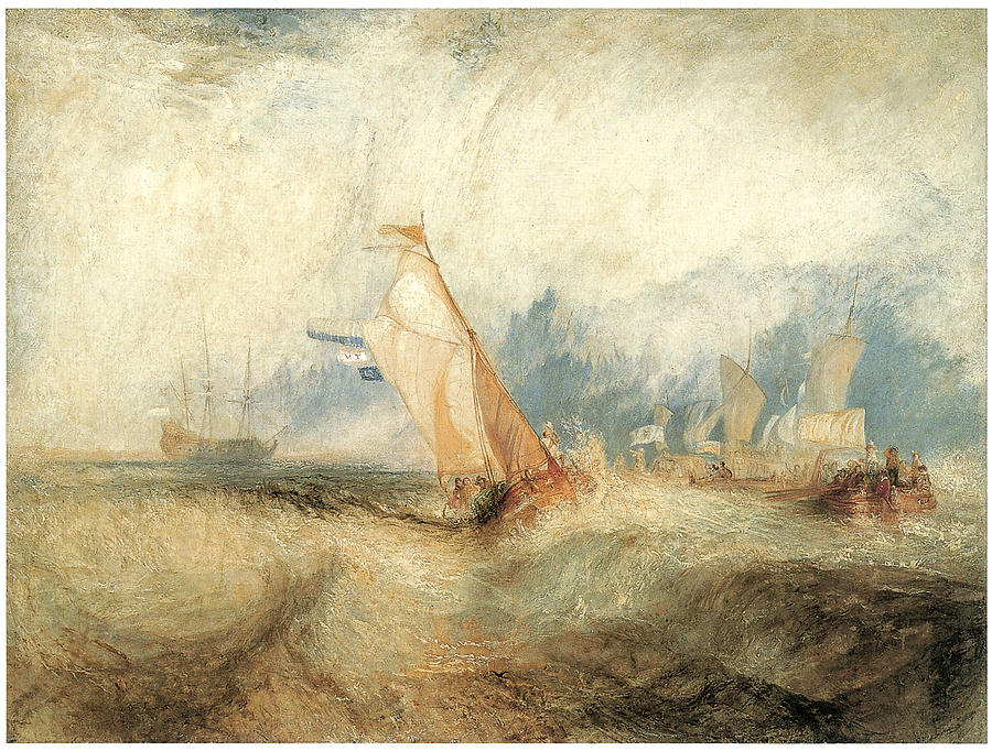 J M W Turner Painting - Van Tromp Going About To Please His Masters by J M W Turner