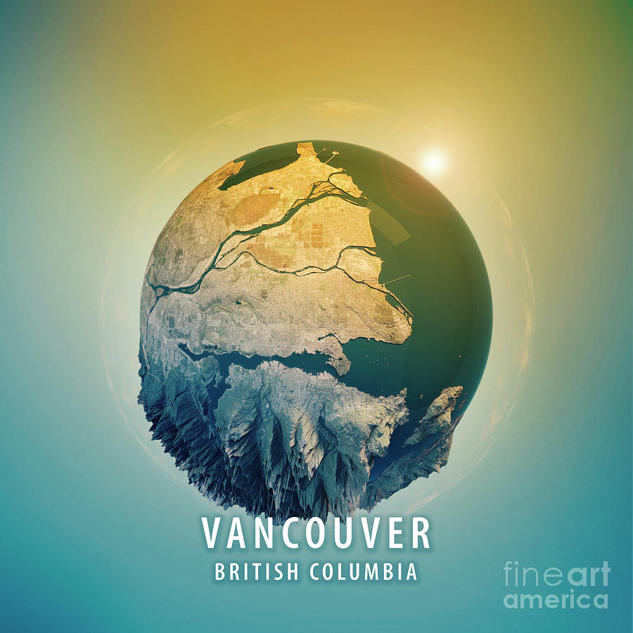 Vancouver Digital Art - Vancouver 3D Little Planet 360-Degree Sphere Panorama by Frank Ramspott