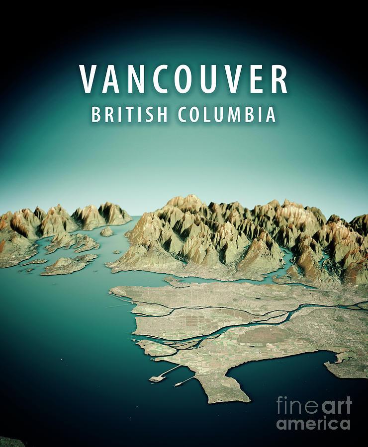 Vancouver Digital Art - Vancouver 3D Render Satellite View Topographic Map Vertical by Frank Ramspott