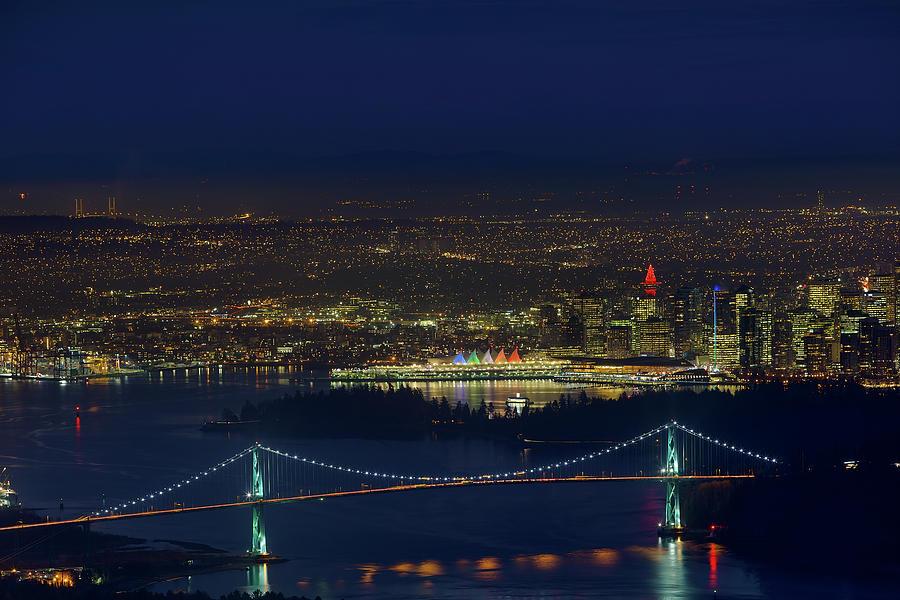 Vancouver Photograph - Vancouver BC Cityscape by Lions Gate Bridge by David Gn