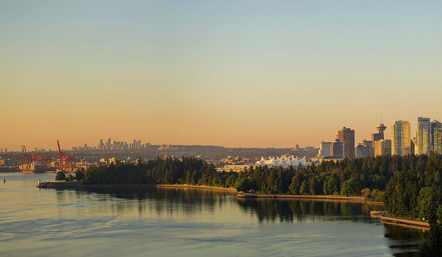 Port Photograph - Vancouver Bc Cityscape By Stanley Park Morning View by David Gn