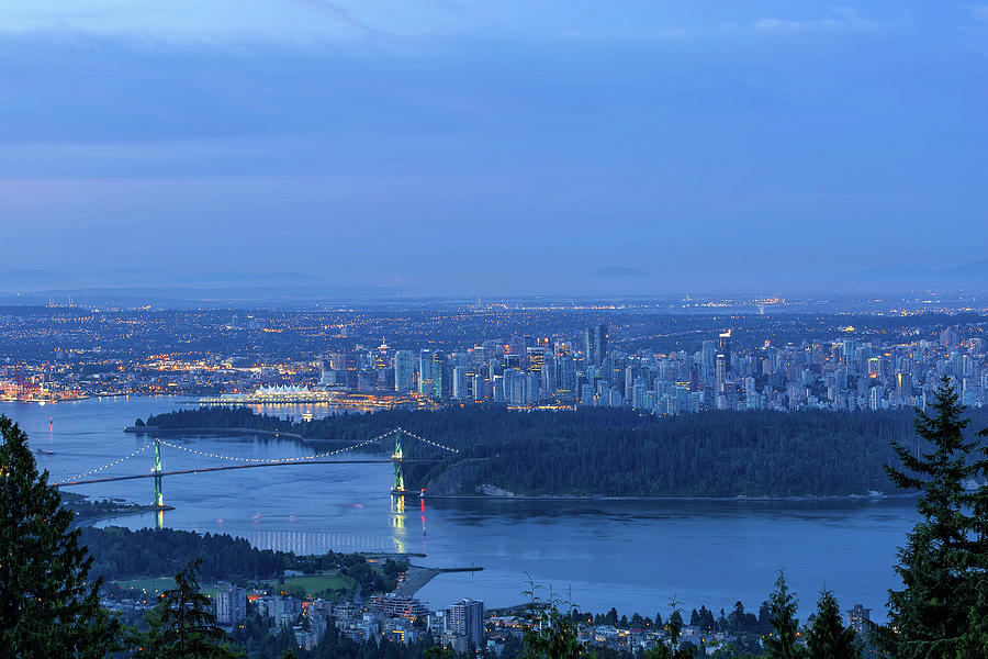 Vancouver Photograph - Vancouver Bc Cityscape During Blue Hour Dawn by David Gn