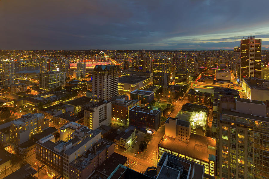 Vancouver Photograph - Vancouver BC Cityscape during Evening Twilight by David Gn